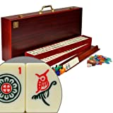 Complete American Mahjong (Mah Jongg Mahjongg) 166 Tiles Set w/ 4 Racks, Red Wood Case - The Classic