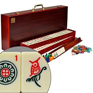 Complete American Mahjong (Mah Jongg Mahjongg) 166 Tiles Set w/ 4 Racks, Red Wood Case - ''The Classic
