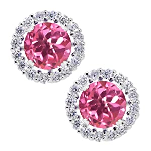2.00 Ct Round 6mm Pink Mystic Topaz 925 Silver Removable Jacket Stud Earrings