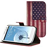Kwmobile Chic leather case for the Samsung Galaxy S3 i9300 / S3 Neo i9301 with convenient stand function - Flag design (USA) (Blue Red)!
