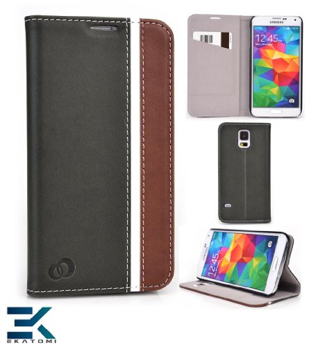 S-View Flip Cover With Stand For The Samsung Galaxy S5 Case - Black / Brown / White. Bonus Ekatomi Screen Cleaner* front-1051090