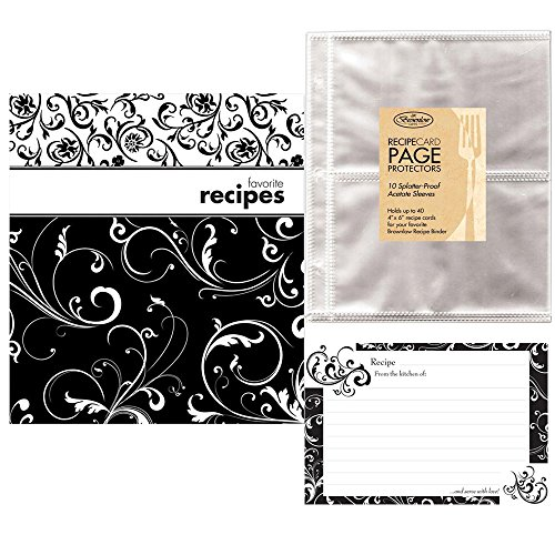 Pocket Page Recipe Book Bundle - Brownlow Black and White Swirls Book - Matching Binder, 4 x 6 Cards, Tabbed Dividers and Protector Pages - Plus an Additional 10 Protector Sleeves and 36 Coordinated Recipe Cards (Recipe Collection Book compare prices)