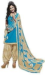ZHot Fashion Women's Unstitched Salwar Suit Material In Cotton Fabric (RHRN1003B) Blue