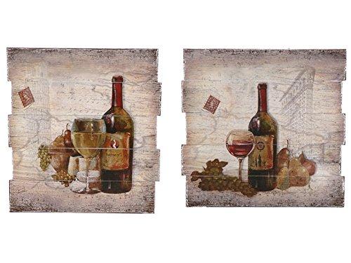Indian Handicrafts Wooden Wine Bottle Wall Plaque, Set of 2