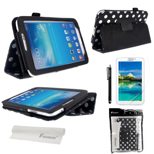 Foxnovo® Polka Dot Hot Flip PU Leather Case Cover for Samsung Galaxy Tab 3 7.0 P3200 / P3210 / T210 / T211 & Stylus Pen & Screen Guard & Cleaning Cloth (Black)