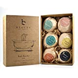 Bath Bomb Gift Set - 6 Pack of Large Organic Bath Fizzies from Beauty by Earth - Lush, Luxury and Fizzy Healing Bath Bombs with Essential Oils, Shea Butter, Cocoa Butter and Epsom Salts - Best Relaxing and Moisturizing Soak and Perfect Gift Idea - Made in the USA