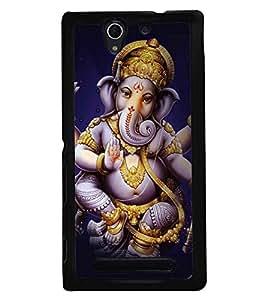 Fuson Premium Ganapathi Bappa Moriya Metal Printed with Hard Plastic Back Case Cover for Sony Xperia C3