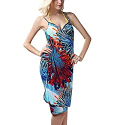 Sexy Backless Style Breathtaking Multi Digital Print Summer Wrap Skirt Beach Dress