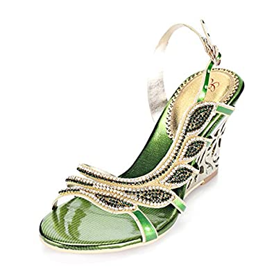 Abby MNS-L007 Womens Girls Ladies Wedding Party Work Glittered Slipsole PU Wedges Sandals Slippers Shoes US Size3