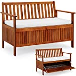Wooden Garden Bench 2 Seater With Sto...
