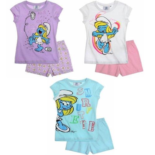 Die Schlümpfe Pyjama 2014 Kollektion 98 104 110 116 122 128 134 140 Schlafanzug Kurz Mädchen Shorty Shortie Schlumpfine (98 - 104, Lila)