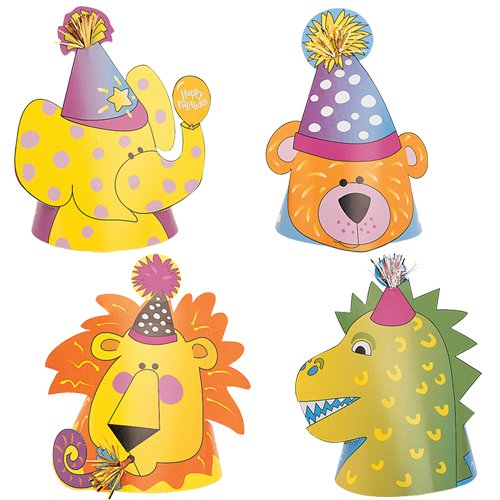 Animal Party Hats, Assorted 4ct - 1