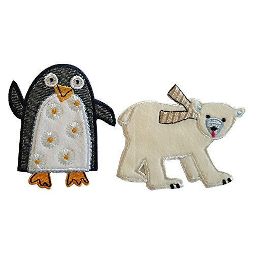 eisb r 8x7cm pinguin 7x8cm b gelbilder set flicken aufn her aufb gler stoff patch kleider zum. Black Bedroom Furniture Sets. Home Design Ideas