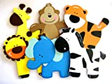 Assorted Wooden Animal Ornaments Monkey, Giraffe, Tiger, Lion, Elephant and Zebra for Safari / Jungle Themed, Baby Room Decor, 6 Pieces