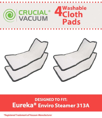 High Quality 4-Pack Washable and Reusable Pad Fits Eureka Enviro Floor Steamer 310A, 311A, 313A; Compare To Eureka Enviro Hard Floor Steam Cleaner Part # 60978, 60980, 60980A; Designed and Engineered By Crucial Vacuum