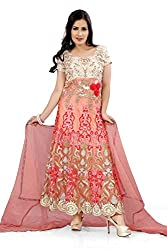 Priyanshu Creation Women's Net Pink Dress Material