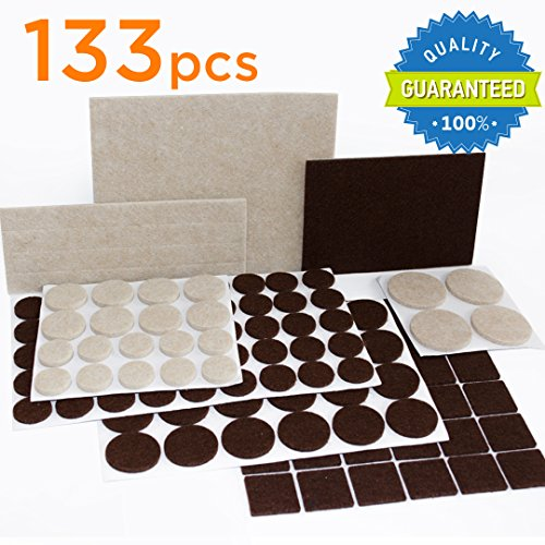 X-PROTECTOR Premium TWO COLORS Pack Furniture Pads 133 piece! Felt Pads Furniture Feet Brown 106 + Beige 27 of various sizes - BEST wood floor protectors. Protect Your Hardwood & Laminate Flooring (Felt Pads To Protect Furniture compare prices)