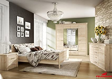 Schlafzimmer 110017 komplett 3-teilig mit Doppelbett 180x200cm buche iconic