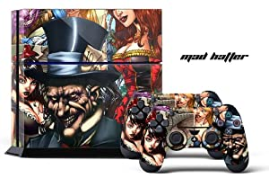 PS4 Designer Skin for Sony PlayStation 4 Console System plus Two(2) Decals for: PS4 Dualshock Controller - Mad Hatter