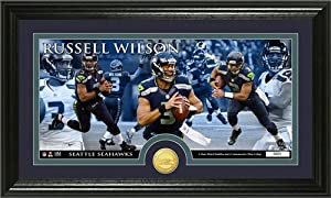 Russell Wilson Framed Seattle Seahawks Bronze Coin Panoramic Photo Mint by Hall of Fame Memorabilia