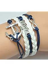 HUMASOL Fashion Lady Retro Knit Bronze Love Dream 2 Hearts Shape 5 Strands Suede Rope Bracelet Blue & White Gift