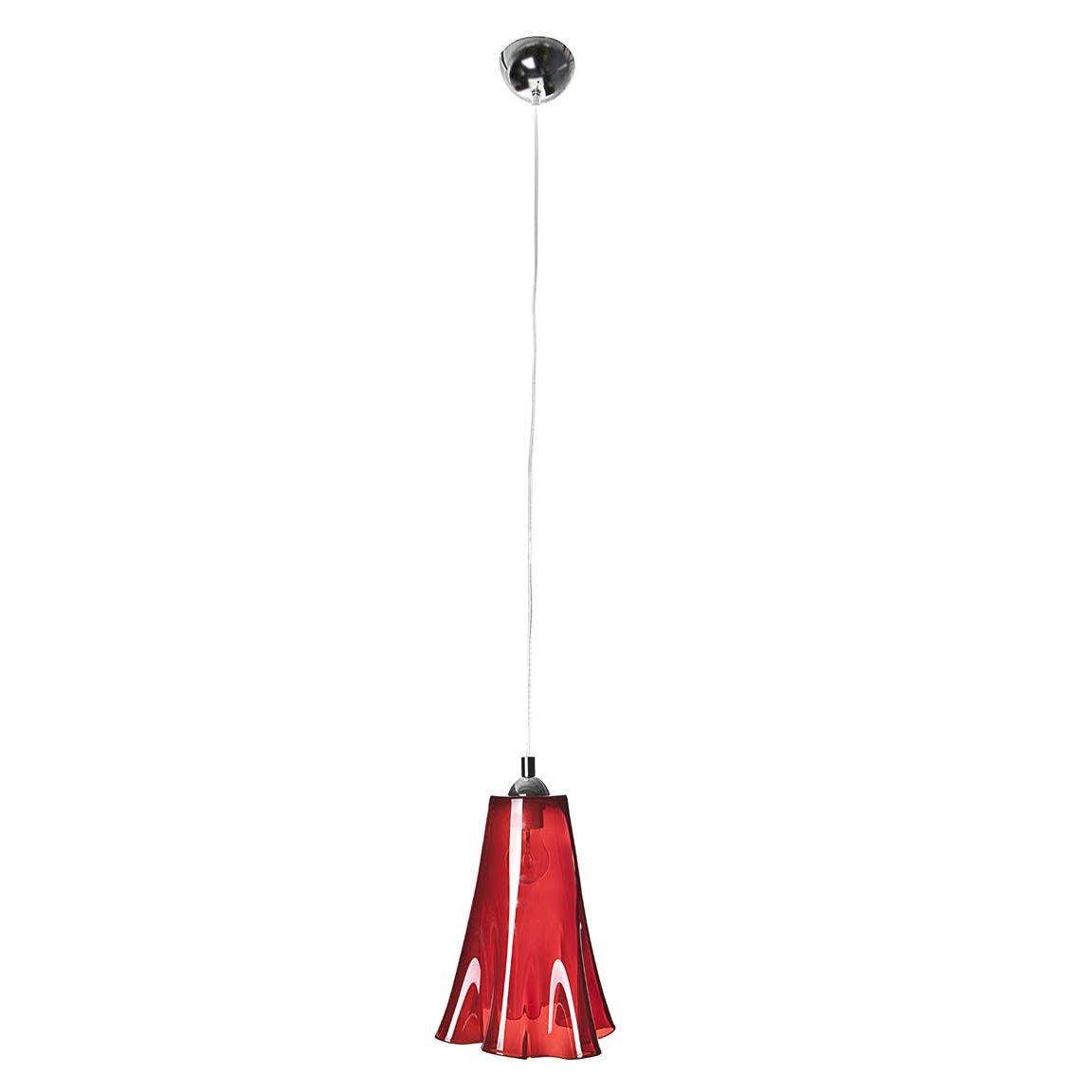 SIGNATURE HOME COLLECTION Deckenhängelampe mit gewelltem Glasschirm, Hängeleuchte, 21 x 21 x 30 cm, Gesamthöhe maximum 120 cm, Glas rot durchscheinend CO-120-ME