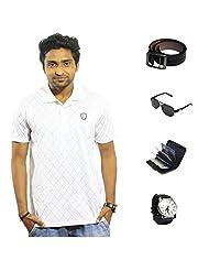 Garushi White T-Shirt With Watch Belt Sunglasses Cardholder - B00YMLDRKI