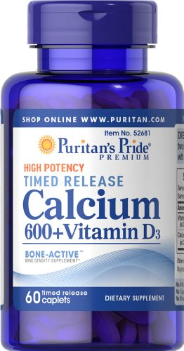 Puritan'S Pride Calcium Carbonate 600 Mg + Vitamin D 125 Iu Time Release-60 Caplets