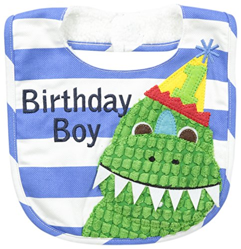 Mud Pie Baby-Boys Newborn Birthday Dino Bib, Blue, One Size