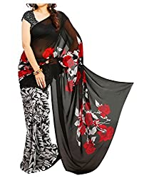 WXW Fashion Women's Printed Georgette Saree with Blouse Piece (WXWAZ20_Black)