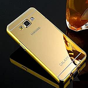 Go Crazzy Luxury Metal Bumper Acrylic Mirror Back Cover Case for Samsung Galaxy J5 -(Gold) With OTG Cable