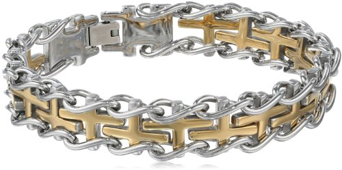 Men'S Stainless Steel Railroad Bracelet With Gold Ion-Plated Center