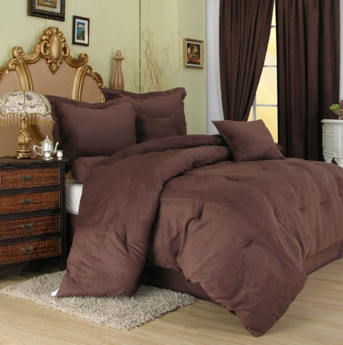 7 Pieces Solid Mocha Brown Microsuede Comforter/bed-in-a-bag Set Queen Size Bed