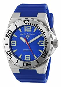 """Swiss Legend Men's 10008-03SET """"Expedition"""" Stainless Steel, Blue Silicone, and Blue Dial Watch Set from Swiss Legend"""
