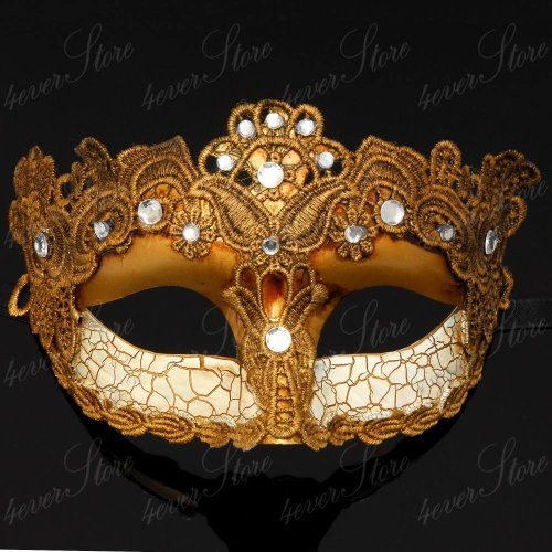 Gold Lace Mardi Gras Mask Embellished with Lace, Gems and Jewels 1