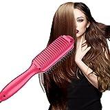 Hair Straightener, YOPO Hair Straightener Brush Straightening Hair Comb(Red)