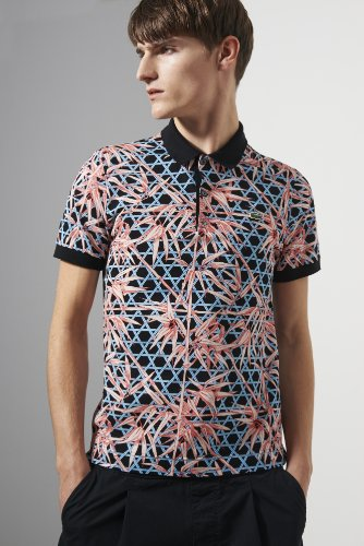 L!ve Short Sleeve Mini Pique Tropical Printed Polo Shirt
