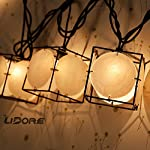 LIDORE Set of 10 Vintage style Square with Seashells String Lights. Ideal for home and simple decor