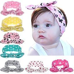Quest Sweet Baby Girl Multicolor Hair Hoops Headbands,Solid Bunny Ears,Bow Headbands(5-8 Pack )
