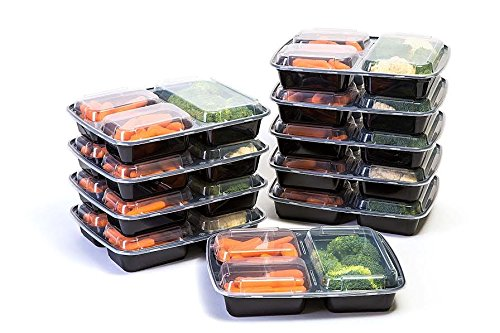 Value Pack Manage Meal 3 Compartment Lunch Boxes - Food Preparation and Storage Containers with Lids - Set of 10 Bento Boxes Reusable Perfect for Work, School, and Picnics! (Elephant Frying Pan compare prices)