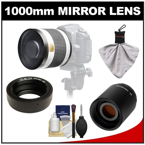 Samyang 500Mm F/6.3 Mirror Lens (White) With 2X Teleconverter (=1000Mm) For Olympus Om-D Em-5, Pen E-P2, E-P3, E-Pl2, E-Pl3, E-Pm1 & Panasonic Micro 4/3 Digital Cameras