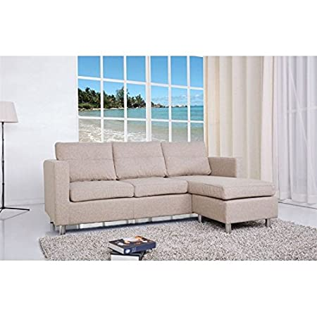 Gold Sparrow Detroit Fabric Convertible Sofa with Ottoman in Camel