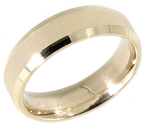 14K Yellow Gold Sand Finished Design Comfort Fit Wedding Band Ring