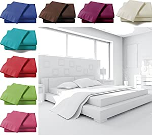 Fitted Sheets - Plain Linen Poly Cotton Bedding Bed Fitted Sheet Parent Parent from Just Contempo