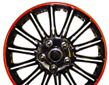 Suzuki Wagon R 14 Inch Black with Red Pinstripe Car Hub Caps Wheel Trims 14