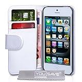 """iPhone 5 / 5S Tasche PU Leder Brieftasche H�lle Wei�von """"Yousave Accessories�"""""""