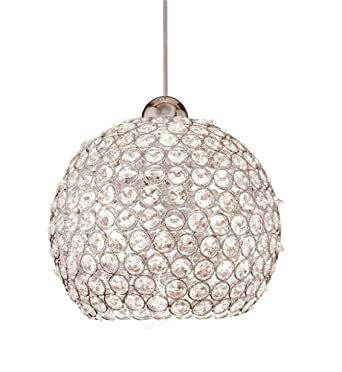 WAC Lighting MP-LED335-CL/BN Roxy LEDme Monopoint Pendant, Clear Shade with Brushed Nickel Socket Set, Canopy Included