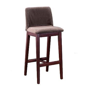 LHL -Silla creativa de Barstool de la manera, Sillón retro del taburete de la silla de la barra, taburete alto de madera maciza del restaurante Asiento de cena creativo del respaldo del hogar, cojín plegable del paño (los 41.5 * 43.5