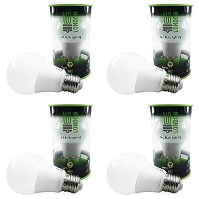 Led.London® LED Bulb 7W to 60W E27 Edison 620 Lumen True incandescent-like warm white 2700K - Pack of 4