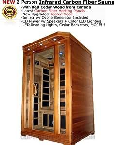 Two 2 Person Carbon Fiber Infrared FIR Sauna Spa w/ Red Cedar Wood